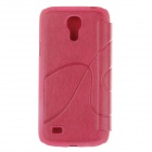 Protective Plastic + PU Leather Case for Samsung Galaxy S4 Mini i9190 - Deep Pink