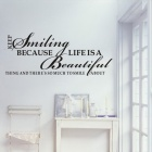 Aomei 0176A Fashionable Beautiful Smiling Pattern PVC Bathroom / Room Wall Sticker Decor - Black