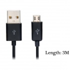 Micro USB Male to USB 2.0 Male Data Sync / Charging Cable for Cellphone - Black (300cm)