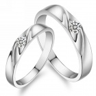 eQute eQuteCOO12E1 Fashionable Titanium Steel Couple Rings - Silver (Size Women 7 / Men 10 / Pair)