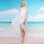 LC40718-1 Cool Frauen Sexy Sheer Chiffon Sarong Cover Up Dress - White (freie Größe)