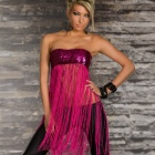LC25115-1 Women's Sexy Sequin Long Fringe Top - Deep Pink (Free Size)