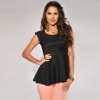 LC25132 Woman's Fashionable Short-Sleeve Golden Spike Neck Peplum Top - Black (Free Size)