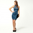 LC2771-3 Woman's Sexy Sleeveless Sweetheart Halterneck Lace Dress - Blue (Free Size)