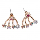 Fashionable Unique Style Shiny Rhinestone Decorated Women's Earrings - Multicolored (Pair)