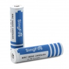 SingFire BRC 3.7V 18650 2400mAh Li-ion Battery for Flashlight - Blue + White (2 PCS)