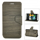 Protective Wood Grain Style PU Leather Back Case for HTC M7 - Greenish-Black