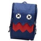 TT-102 Stylish Monster Design Nylon Backpack - Deep Blue + Red
