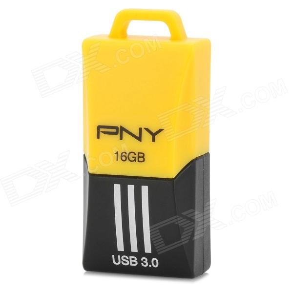 PNY F1 Mini Portable USB 3.0 Flash Drive w/ Strap - Yellow + Black (16GB) sp i series handy portable usb flash drive black 16gb