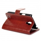 Protective PU Leather Case Cover Stand w/ Card Slots for Samsung Galaxy S4 Mini i9190 - Brown