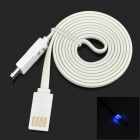 Smile Face Flashing Flat USB Male to Micro USB Male Charging Cable for Samsung i9500 - White (95 CM)