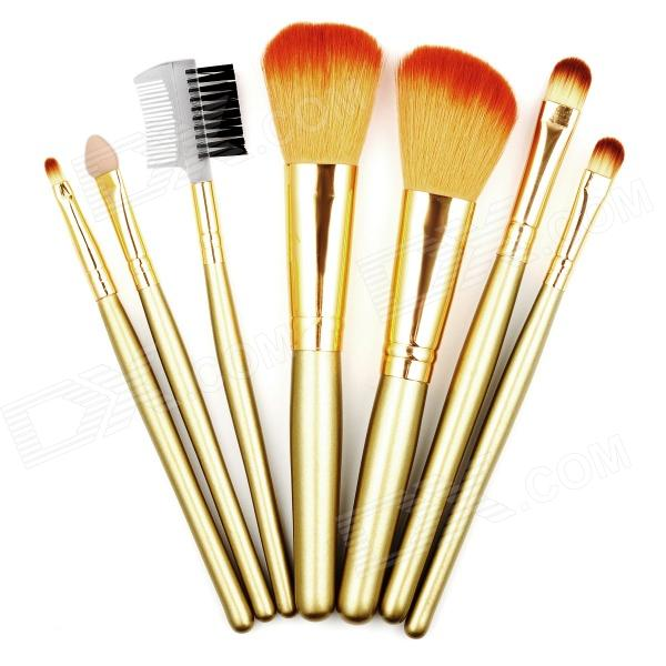 B7B-7 7-in-1 Professional Make-up Fiber Hair Brushes Set - Golden