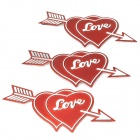 LOVE Plastic Car Decoration Sticker - Red + Silver (3 PCS)