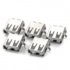 40140010W USB A Female Socket - Silver (5 PCS)
