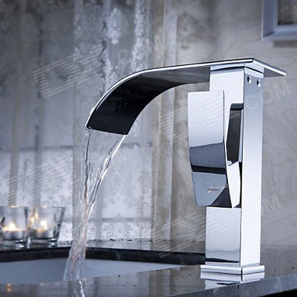 YDL-F-0502 Chrome Waterfall Brass Bathroom Faucet - Silver
