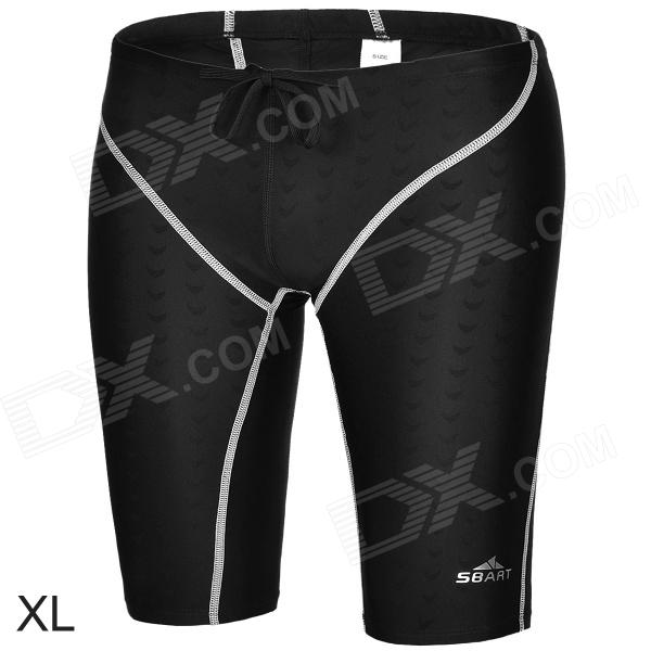 Sbart Men's Stylish Flexible Quick-dry Fifth Skinny Pants for Swimming - Black + White (XL)