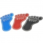 STOP Footprint Shaped Plastic Car Decoration Stiker - Red + Black + Blue (3 PCS)