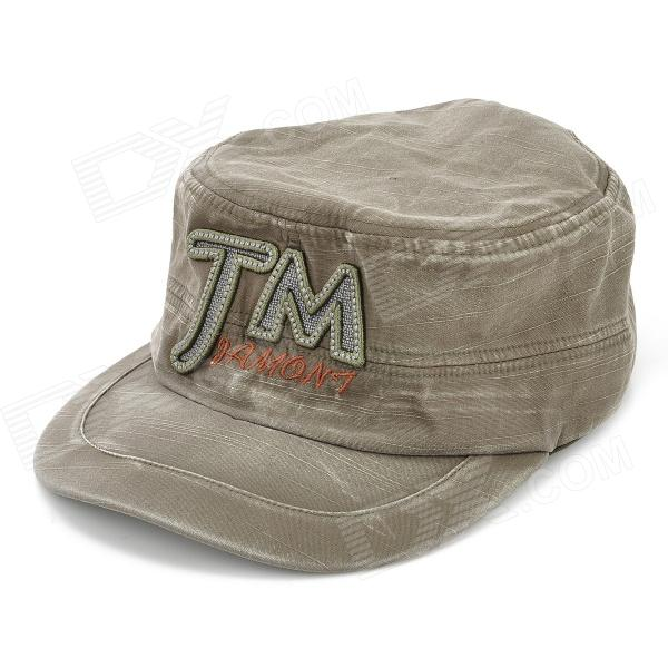 Denim Fabric Flat-Top Baseball Hat Cap - Army Green military hat flat cap m177