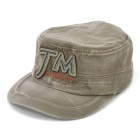 Denim Fabric Flat-Top Baseball Hat Cap - Army Green