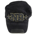 Denim Fabric Flat-Top Baseball Hat Cap - Black