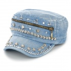 Skull Style Rivet Jean Cap Hat for Women - Blue + Silver