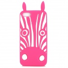 Cute Zebra Style Protective Silicone Back Case for Iphone 5 - Pink + White