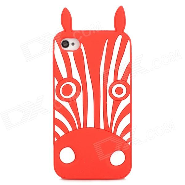 купить Cute Zebra Style Protective Silicone Back Case for Iphone 4 / 4S - Red + White недорого