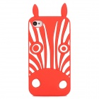 Cute Zebra Style Protective Silicone Back Case for Iphone 4 / 4S - Red + White