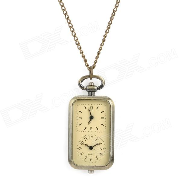 Retro Dual Dial Rectangle Analog Quartz Necklace Pocket Watch - Bronze 4 design bronze vintage quartz pocket watch free mason sword art online gear necklace pendant chain womens mens gifts p1123