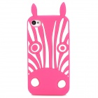 Cute Zebra Style Protective Silicone Back Case for Iphone 4 / 4S - Pink + White