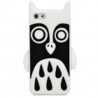 Cute Owl Style Protective Silicone Back Case for iPhone 5 - White + Black