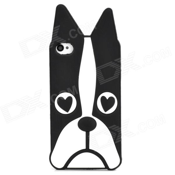 Cute Dog Style Protective Silicone Back Case for Iphone 4 / 4S - Black + White ultra thin universal 5v 5000mah li polymer battery power bank w led indicator black