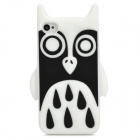 Cute Owl Style Protective Silicone Back Case for Iphone 4 / 4S - White + Black