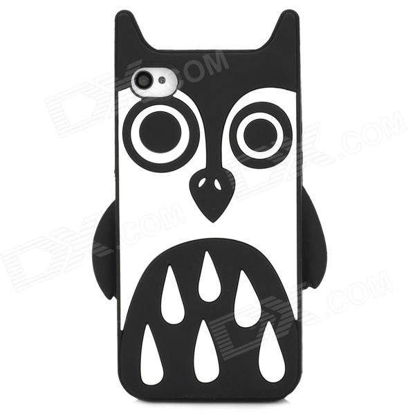 Cute Owl Style Protective Silicone Back Case for Iphone 4 / 4S - Black + White cool skull head style protective soft silicone back case for iphone 4 4s pink