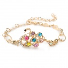 Zinc Alloy + Artificial Crystal Chain Bracelet - Golden + Colorful