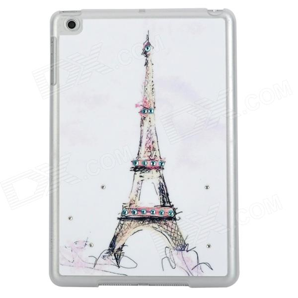 Eiffel Tower Style Protective Rhinestone + TPU Back Case for Ipad MINI - White