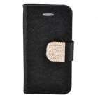 Stylish Plastic + PU Leather Flip-Open Stand Case w/ Card Slots for Iphone 4 / 4S - Black