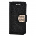 Stylish Plastic + PU Leather Flip-Open Stand Case w/ Card Slots for Iphone 5 - Black
