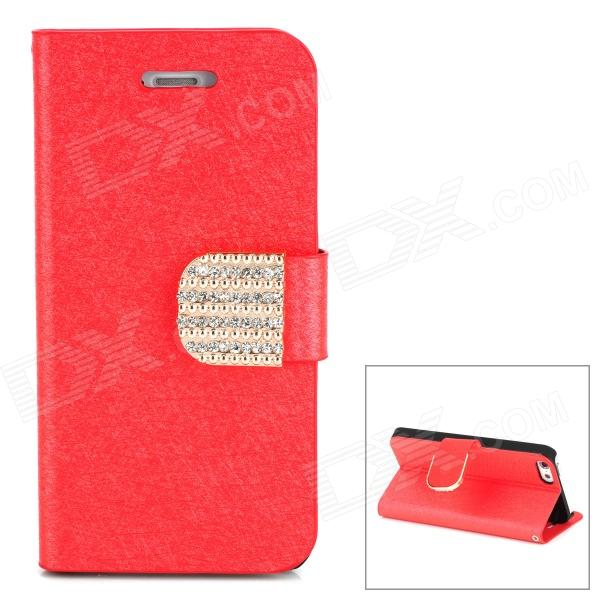 Stylish Plastic + PU Leather Flip-Open Stand Case w/ Card Slots for Iphone 5 - Red glossy leather wallet stand cover with 5 card slots for iphone 7 4 7 white