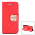 Stylish Plastic + PU Leather Flip-Open Stand Case w/ Card Slots for Iphone 5 - Red