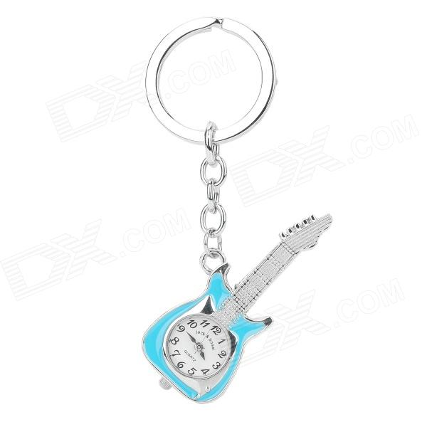 Guitar Shaped Zinc Alloy Analog Quartz Keychain Pocket Watch - Silver + Blue