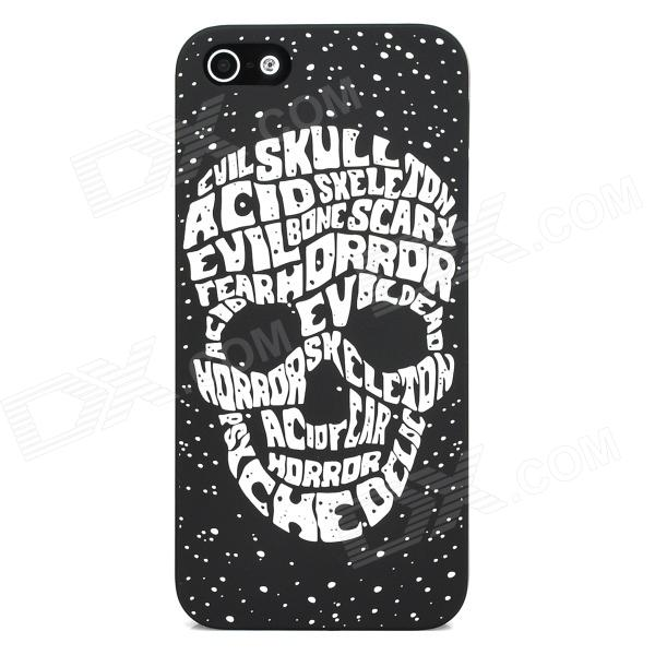 Glow-in-the-Dark Relief Letters Skull Style Protective Plastic Back Case for Iphone 5 - Black skull patterned protective plastic back cover case for iphone 6 plus 5 5 black deep pink