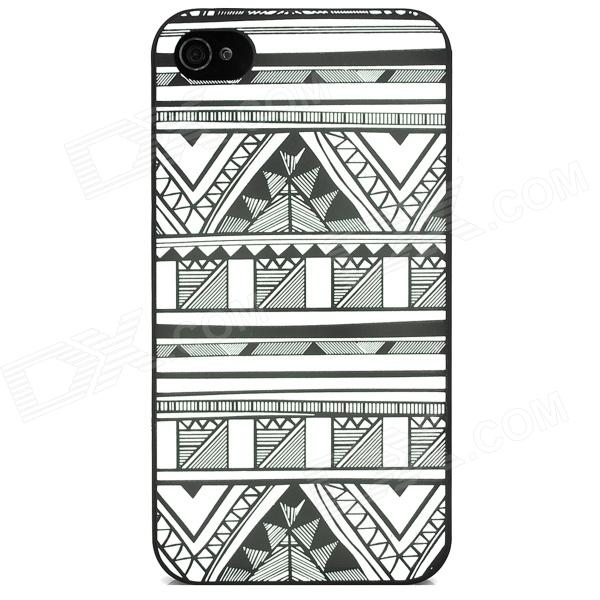 все цены на i4 Noctilucent Protective Embossed Plastic Case for Iphone 4 / 4S - Black + White онлайн