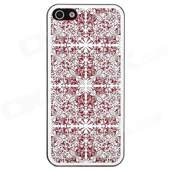 Laser Flower Pattern Protective Plastic Back Case for Iphone 5 - Red london pattern protective plastic back case w front screen protector for iphone 5 grey red