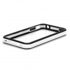 Stylish Protective TPU Bumper Frame w/ Buttons for Iphone 4 / 4S - White + Black