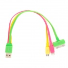 USB to 8-Pin Lightning + iPhone/Samsung 30-Pin + Micro USB Flat Charging Cable - Green