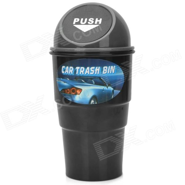 Car Plastic Trash Can /  Bin Holder w/ Push Cover - Black + Grey
