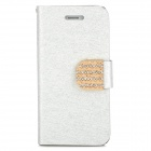 Protective PU Leather Case w/ Rhinestone Decoration Close Button for Iphone 5 - Silver White