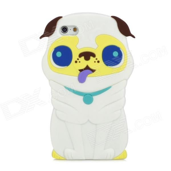 Cute 3D Dog Style Protective Silicone Back Case for Iphone 5 - White koko stylish cute cat ear style protective silicone back case for iphone 5 5s white