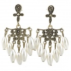 Retro Palace Style Water Drop Pearl Earrings - White + Bronze (Pair)